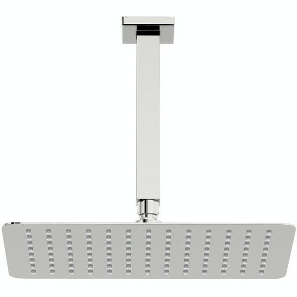 Mode Slim rectangular stainless steel 300mm shower head and ceiling arm