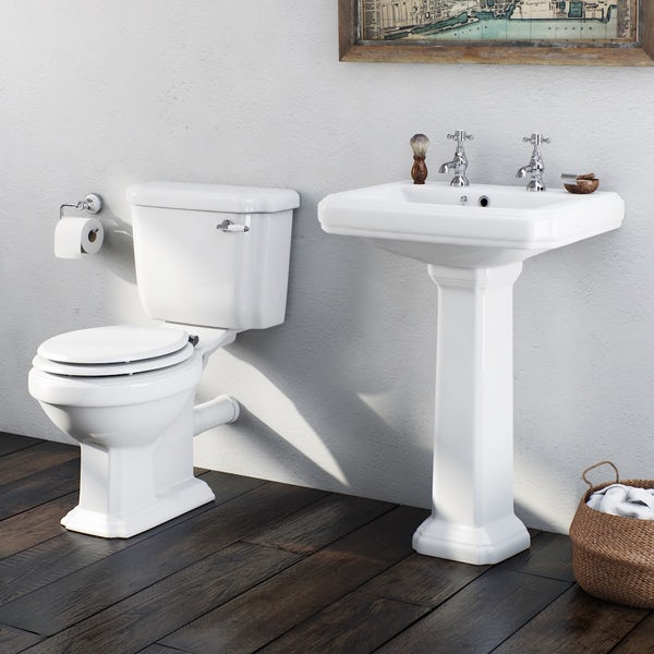 Orchard Dulwich cloakroom suite with white seat and full pedestal basin 615mm