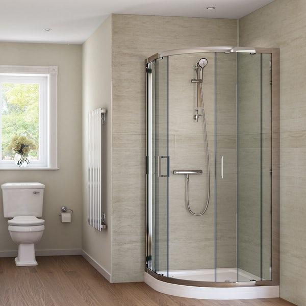 Splashpanel Sandstone easy fit 2 sided shower wall panel kit