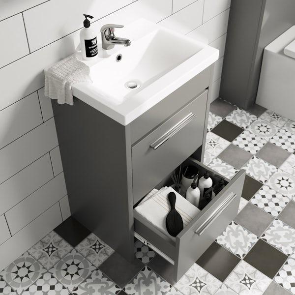Clarity satin grey vanity unit and basin 510mm