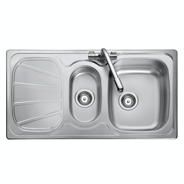 Rangemaster Baltimore 1.5 bowl reversible kitchen sink with waste kit