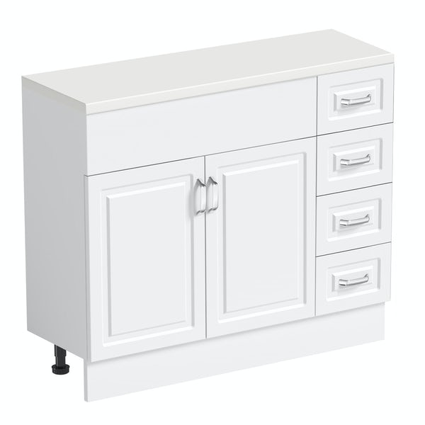 Orchard Florence white 650mm, multi drawer unit & plinth with white top