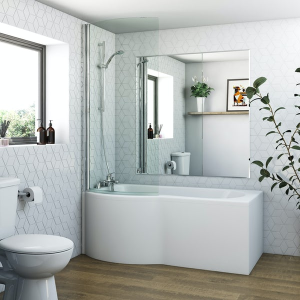 Orchard P shaped left handed shower bath with 6mm shower screen