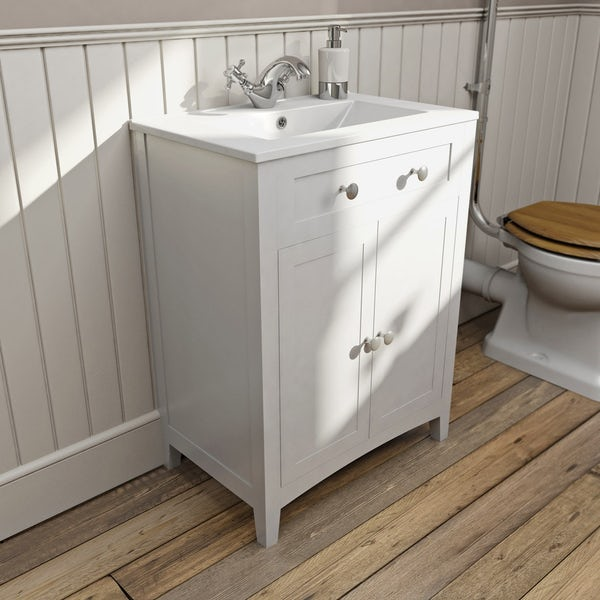 Camberley white high level furniture suite with straight bath 1700 x 700