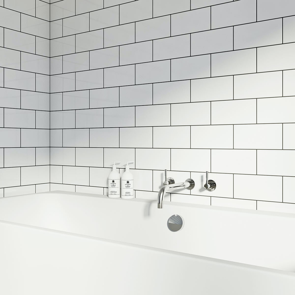 The British Ceramic Tile Metro Flat White Gloss Tile 100mm