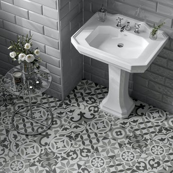 Patchwork traditional décor mix matt wall and floor tile 185mm x 185mm