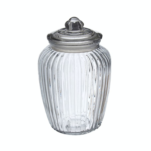 Ribbed glass 2280ml storage jar