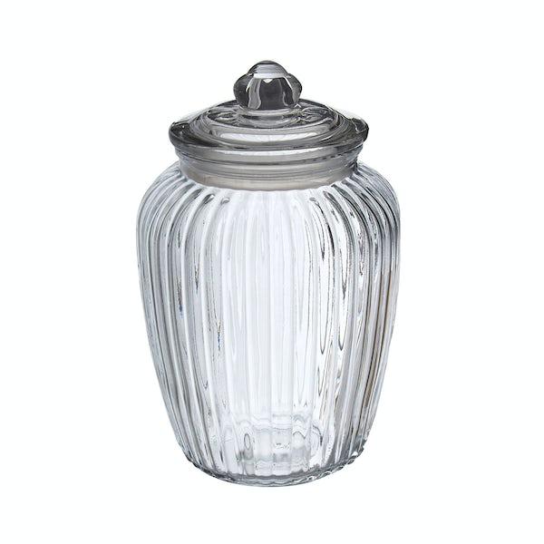 Ribbed glass 2280ml storage jar