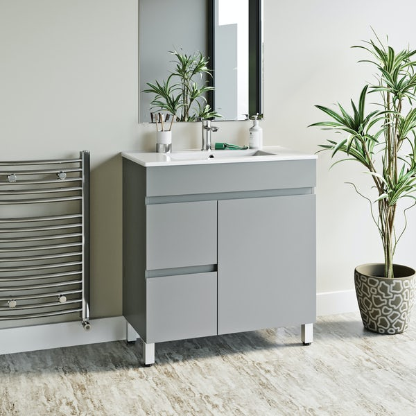 Orchard Thames satin grey floorstanding vanity unit and ceramic basin 760mm