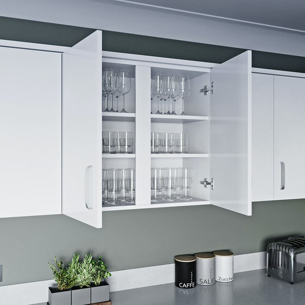 Schon Boston white 2 door slab wall unit