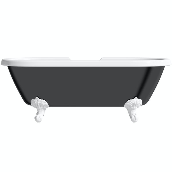 The Bath Co. Dulwich black roll top freestanding bath with white claw feet 1695 x 740