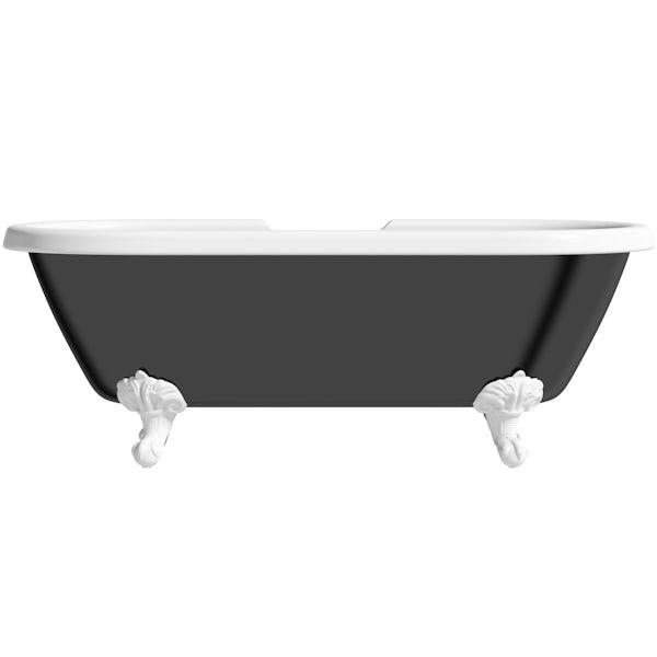 The Bath Co. Dulwich black roll top freestanding bath with white claw feet 1695 x 740