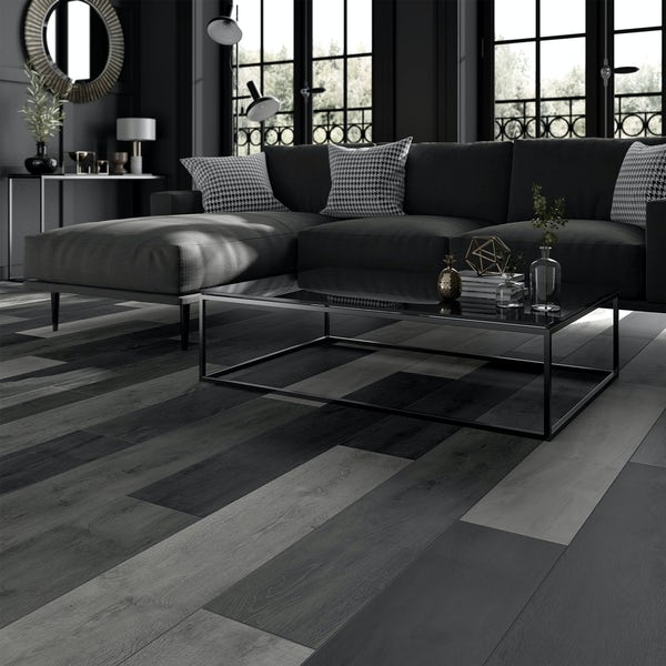 Kingston multi grey wood effect matt wall and floor tile 200mm x 1200mm