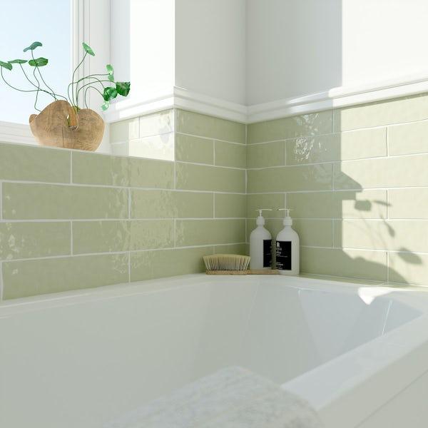 Laura Ashley Artisan willow green wall tile 75mm x 300mm