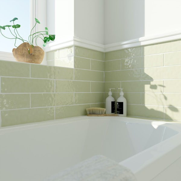 Laura Ashley Artisan willow green wall tile 75mm x 300mm
