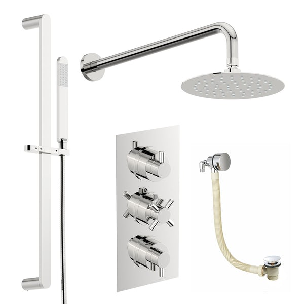 Mode Tate thermostatic mixer shower with wall shower, slider rail and bath filler