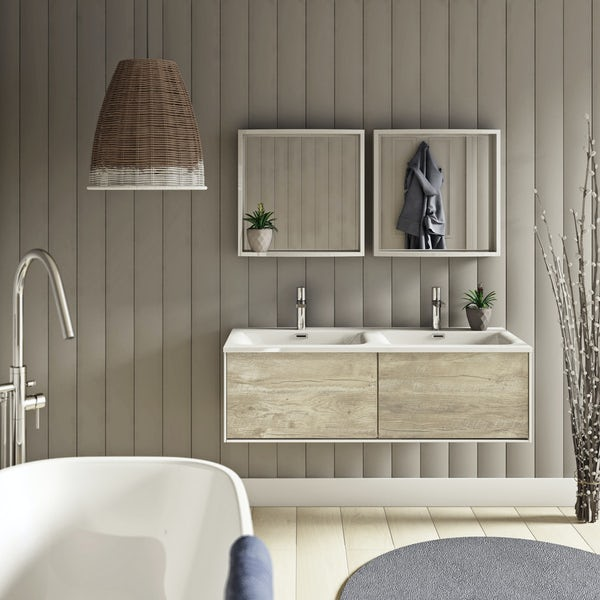 Mode Burton White Rustic Oak Wall Hung Double Basin Vanity Unit 1200mm Victoriaplum Com