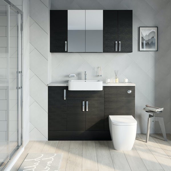 Reeves Nouvel quadro black small fitted furniture & storage combination with pebble grey worktop
