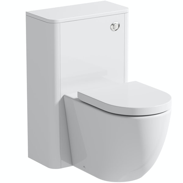 Mode Harrison snow back to wall unit and rimless toilet with soft close seat