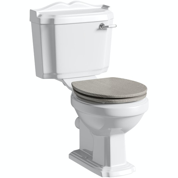 The Bath Co. Winchester close coupled toilet with soft close wooden toilet seat grey oak with pan connector