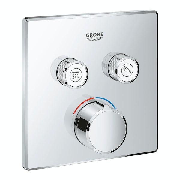 Grohe SmartControl square concealed 2 way shower valve trimset