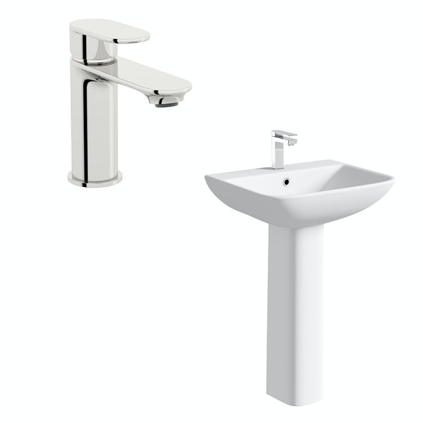 Orchard Derwent square 1 tap hole full pedestal basin 550mm with basin mixer tap
