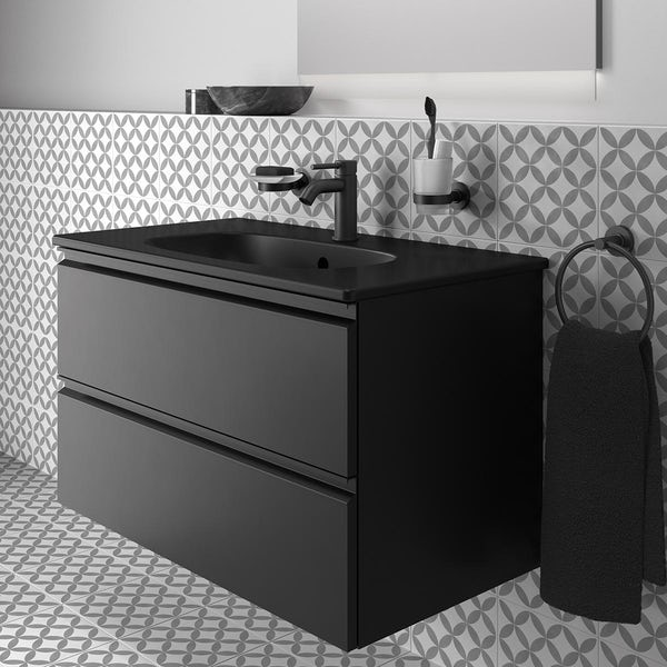 Ideal Standard Tesi silk black wall hung vanity unit and basin 800mm with tap & accessories