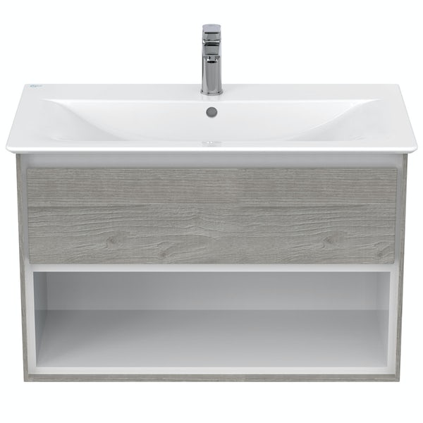 Ideal Standard Concept Air wood light grey and matt white open wall hung vanity unit and basin 800mm