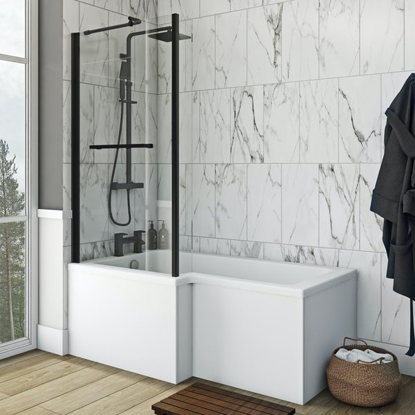 Orchard 6mm matt black fixed L shaped shower bath screen with rail