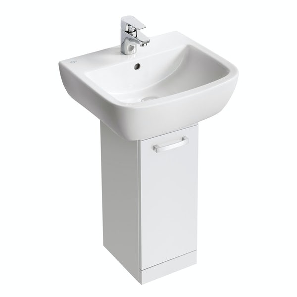 Ideal Standard Tempo gloss white pedestal unit with basin 550mm