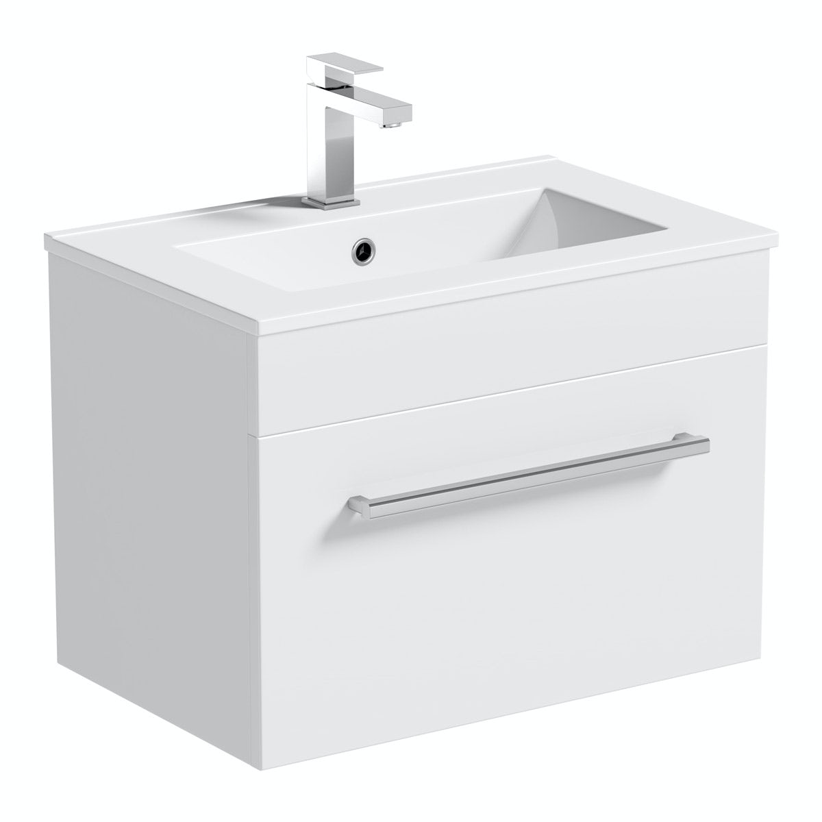 Victoria Plumb Showers >> Orchard Derwent white wall hung vanity drawer unit and sink 600mm