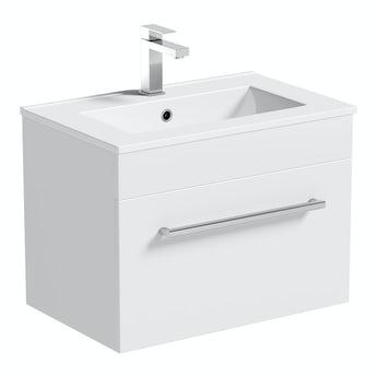 Orchard Derwent white wall hung vanity unit and ceramic basin 600mm