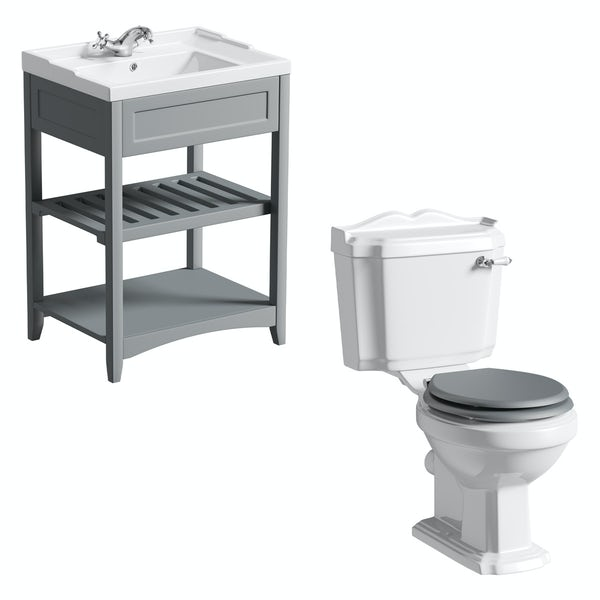 The Bath Co. Winchester and Camberley satin grey washstand suite 600mm