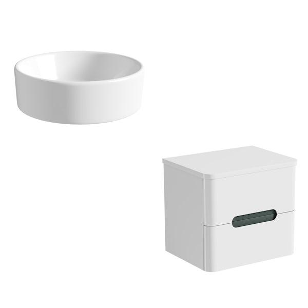 Mode Ellis slate wall hung countertop drawer unit 600mm with Calhoun basin