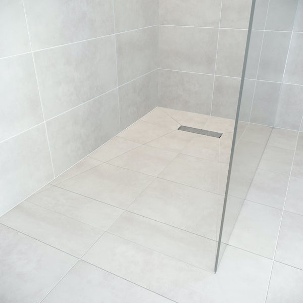 Orchard rectangular wet room tray former with linear end waste position