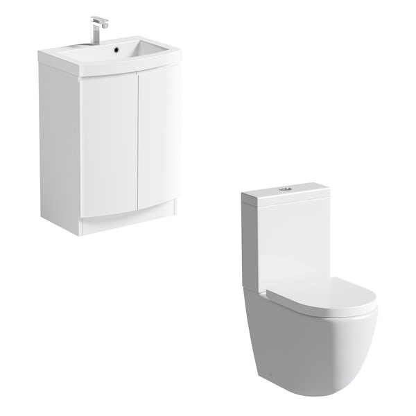 Mode Harrison close coupled toilet and white vanity unit suite 600mm