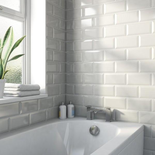 Metro light grey bevelled gloss wall tile 100mm x 200mm