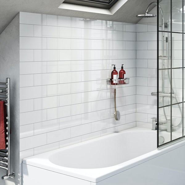 Pure white flat gloss wall tile 100mm x 300mm