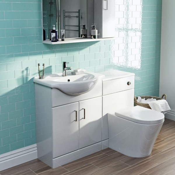 Orchard Eden white 1155mm combination with contemporary toilet and seat