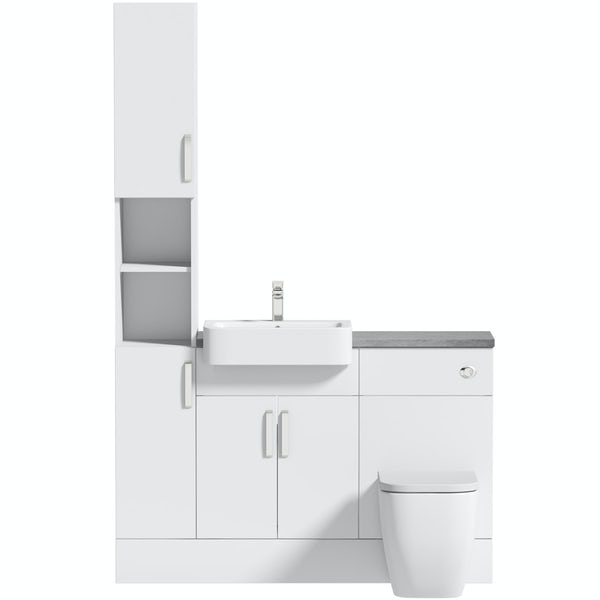 Mode Nouvel gloss white tall fitted furniture combination with pebble grey worktop