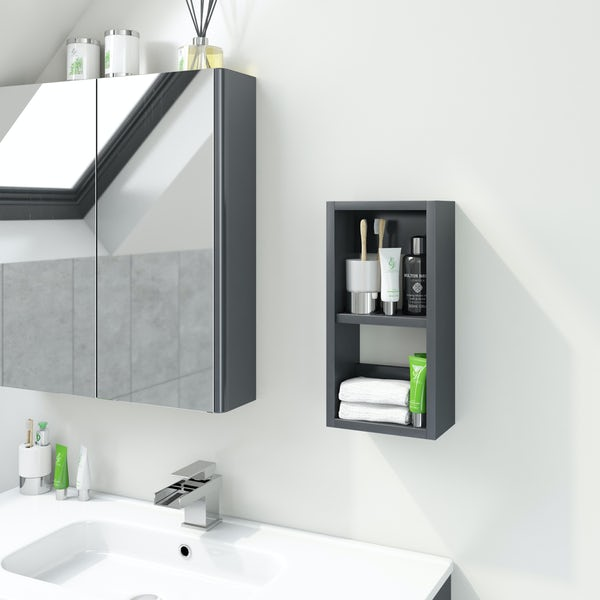 Accents Slimline slate gloss wall hung open storage unit 400 x 200mm