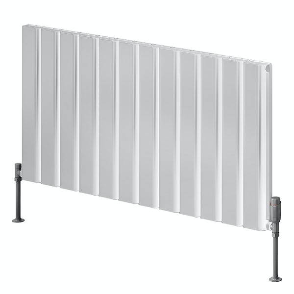 Reina Vicari white double horizontal aluminium designer radiator