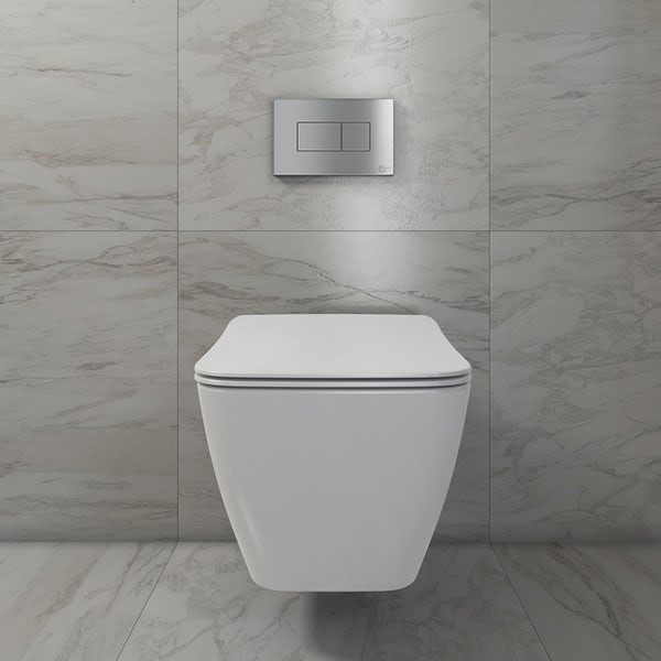 Ideal Standard Strada II wall hung cloakroom suite with right hand wall hung basin 450mm