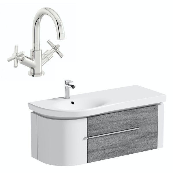 Mode Burton white & grey ice stone wall hung vanity unit and basin 1200mm with tap