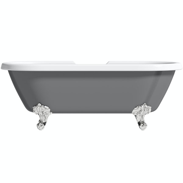 The Bath Co. Dulwich grey roll top freestanding bath with chrome claw feet