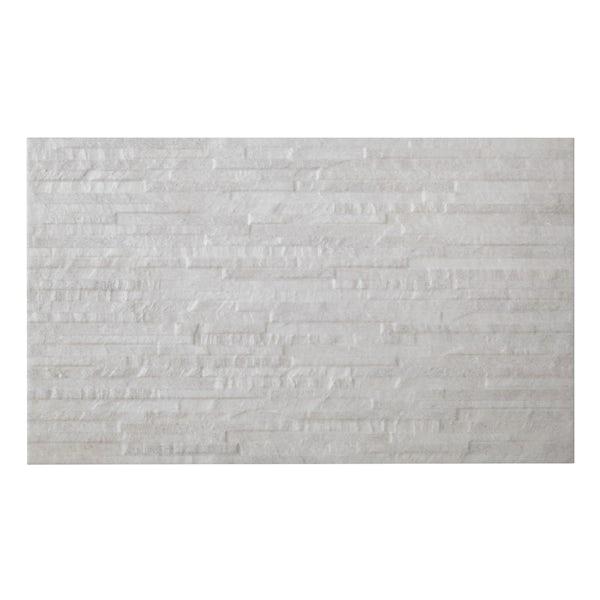 British Ceramic Tile Slate light rib structure white matt wall tile 298mm x 498mm