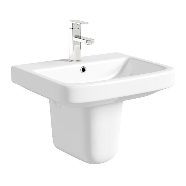 Mode Carter Cloakroom Suite With Semi Pedestal Sink 555mm