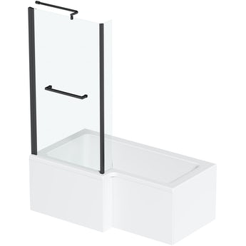 Orchard L shaped left handed shower bath with 6mm matt black shower screen with rail