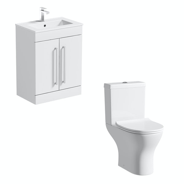 Orchard Derwent round compact close coupled toilet and white vanity unit suite 600mm