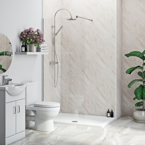 Multipanel Economy Byzantine Marble shower wall single panel